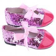 ELECTROPRIME® Dolls Sequin Bow Strap Shoes Sneakers Flats for 43cm Zapf Baby Born Doll