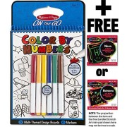 Blue: Color By Numbers Coloring Book + FREE Melissa & Doug Scratch Art Mini-Pad Bundle [53785]