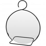 Lustro lusterko ścienne NA HAKU w metalowe czarnej ramie okrągłe