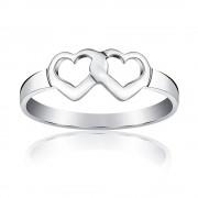 Silvego Stříbrný prsten dvojité srdce - PRMR11433