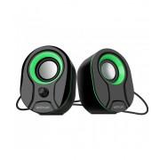Astrum SU115 fekete-zöld 2.0 csatornás 3,5MM multimédia hangszóró USB-s áramellátással, hangerőszabályozóval, prémium hangzással 2 X 3W