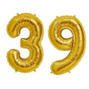 Stylewell Solid Golden Color 2 Digit Number (39) 3d Foil Balloon for Birthday Celebration Anniversary Parties