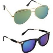 Pogo Fashion Club Wayfarer, Aviator Sunglasses(Golden, Green, Blue)