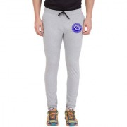 Cliths Light Grey Slim Fit Zeep Printed Trackpant for Men