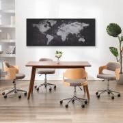 vidaXL Комплект принт върху канава, карта на света, черен, 200x80 см