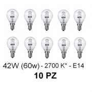 10 Lampada/Lampadina alogena a risparmio energetico 42W (60W) E14 Sfera Cilvani