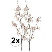 Bellatio flowers & plants 2 x Roze kersenbloesem kunstbloemen tak 105 cm
