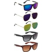 NuVew Rectangular, Retro Square, Wayfarer Sunglasses(Black, Blue, Brown, Blue, Golden, Green)