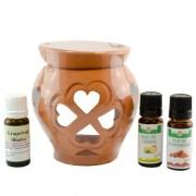 Candelă de aromaterapie și 3 sticluțe de uleiuri esențiale 10ml: Scorțișoară, Grapefruit și Lămâie