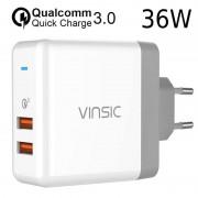 Vinsic VSCW215 QC3.0 Dual USB Travel Charger - White