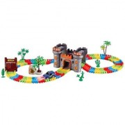 Emob Castle Theme Magical 158Pcs Flexible Bendable Glow in the Dark Track Set with Car (Multicolor)