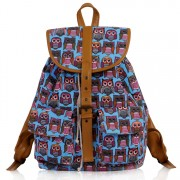 Batoh LS00269C - Blue Owl Print Rucksack Bag - Canvas