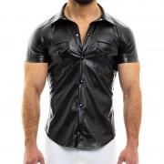 Modus Vivendi Leather Short Sleeved Shirt Black 20541