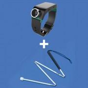 Set de orientare și mobilitate pentru nevăzători: brățară Sunu cu ultrasunete pentru detectarea obstacolelor + baston pentru nevăzători alb, pliabil, din aluminiu, cu vârf de tip roller
