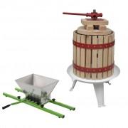 vidaXL Преса за плодове и вино + дробилка, комплект от 2 части