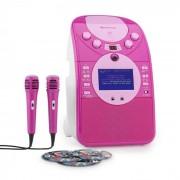 Auna ScreenStar Equipo de karaoke Cámara CD USB SD MP3 incl. 2 x micrófonos 3 x CD+G (KS1-539pink+CD)