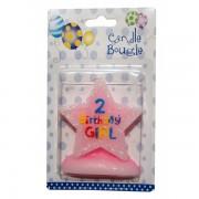 Lumanare stea roz cifra 2 Birthday Girl
