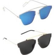 Pogo Fashion Club Retro Square, Cat-eye, Over-sized Sunglasses(Blue, Black)