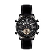 【86%OFF】230-H Air Professional PVD Black Leder ラウンド ウォッチ レザーブラック ファッション > 腕時計~~メンズ 腕時計