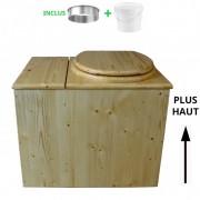 Toilette sèche - La Cube Bac complète huilée - rehaussée
