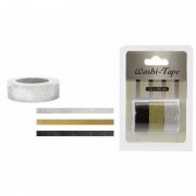 Merkloos Washi tape met glitters 3 stuks