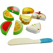 Trinkets & More - Wooden Fruit Cutting Set (10 Pieces) Toy | Realistic Sliceable Fruits Play Toy Set with Velcro | Pretend Play Cutting Board and Knife | Educational Toys Kids 3 + Years