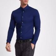 River Island Marineblauw aansluitend overhemd met lange mouwen Heren