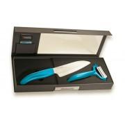 Комплект керамичен нож с белачка KYOCERA в кутия - светлосин