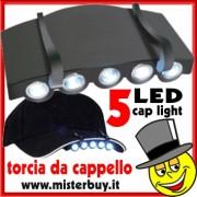 TORCIA 5 LED BIANCHI per Cappelli, Visiere Fasce ecc. ecc.