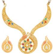 Aadita Traditional Gold Plated Kundan Choker Necklace Maang Tikka Wedding Bridal Jewellery Sets for Women and Girls