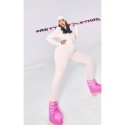 PRETTYLITTLETHING Plus - Combinaison de ski rose pastel à imprimé, Rose bébé - 22