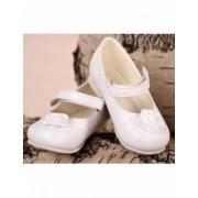 Pantofiori botez bebe fetite eleganti albi Numarul 17 11 cm