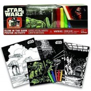 3 Disney Star Wars Glow in the Dark Poster Activity Kit with Glow in the Dark Stickers Provides Kids Hours of...