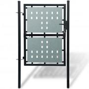 vidaXL Черна единична оградна врата, 100 x 175 см