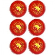 KK Sports Cricket Leather Balls in Alum Tanned Hide - Panther Quality Red color Pack of 6 Hand Stiched 50-overs Life