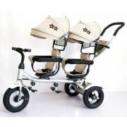 Tricikl Playtime 412-1 TWINS sa dva sedista i lanenim platnom - Bež