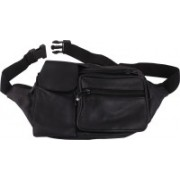 DN CREATION Latest Unisex Genuine Leather Waist Pouch Bag with Adjustable Length in Black/Outdoor Travel Belt Bag/Outdoor Travel Belt Bag-Black…With mobile Pouch Waist Bag(Black)