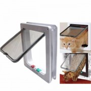 Meco Medium Small White Pet Cat Puppy Dog Supplies Lock Frame Safe Security Flap Door Gate Pet Supplies