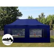 3x6m összecsukható pavilon panoráma ablakos Kék Professional