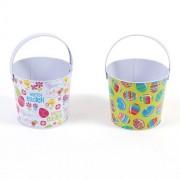 FLOMO Easter Round Tin Buckets - Assorted - 2 buckets - tinpot bucket, metal tub, tin pails