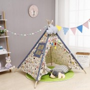 Speeltent Tipi Tent voor Jongens en Meisjes - Speelhuis Wigwam voor Kinderen met Wolk Kussen en Vlaggetjes – 135x110 cm - Beige met Grijs 2
