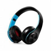 Casti audio wireless cu radio FM cititor card SD-TF microfon intrare jack 3.5mm - culoare negru + albastru