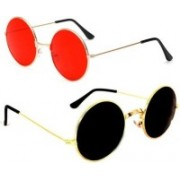 John Dior Round, Round Sunglasses(Red, Black)