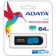 ADATA UV128 USB minne, 64GB, USB 3.0, svart/blå