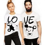 WE2 Mickey Printed Couple Combo Cotton Tees