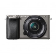 Aparat Foto Mirrorless Sony Alpha A6000, cu obiectiv 16-50mm, 24.3 MP, Filmare Full HD, Zoom optic 3x (Gri)