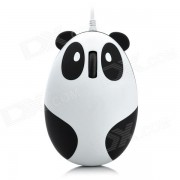 Cute Cartoon 3D Panda USB 2.0 con cable de 800 dpi Optical Mouse-Blanco + Negro (145cm-Cable)