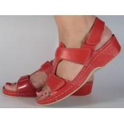 Sandale platforma piele naturala rosii dama/dame/femei (cod 245)
