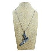 eshoppee Designer Antique Look Silver Color Gun Bullet Locket Pendant with Chain Necklace for Man and Women, Boys and Girls Dog tag. (Antique nk 5)