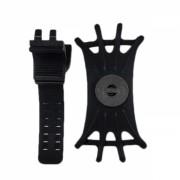 Suport universal ultraslim de telefon pentru ghidon cu elastic de securizare, pentru trotineta/ bicicleta/ scuter/ carut, negru